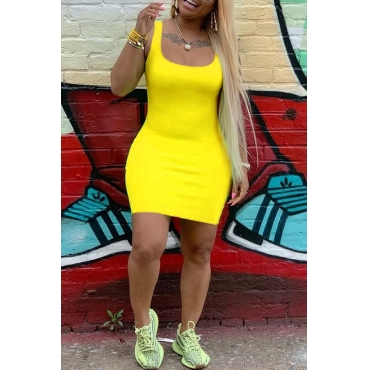 Lovely Casual U Neck Yellow Mini Dress