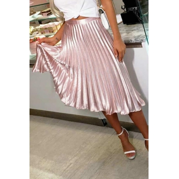 Lovely Sweet Drape Design Light Pink Mid Calf A Line Skirt