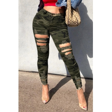 Lovely Stylish Camouflage Printed Broken Holes Pants