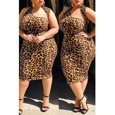 Lovely Stylish Leopard Printed Mid Calf Dress