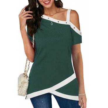 Lovely Casual One Shoulder Patchwork Deep Green Blouse