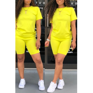 Lovely Casual O Neck Yellow Two-piece Shorts Set