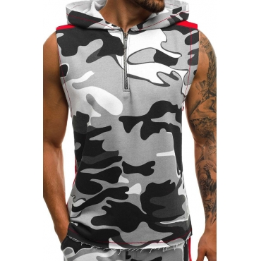 Lovely Casual Hooded Collar Camouflage Printed Grey Vest