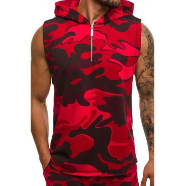 Lovely Casual Hooded Collar Camouflage Printed Red Vest