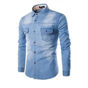 Lovely Casual Buttons Design Babyblue Shirt