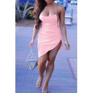 Lovely Sexy Spaghetti Straps Asymmetrical Pink Knee Length Dress