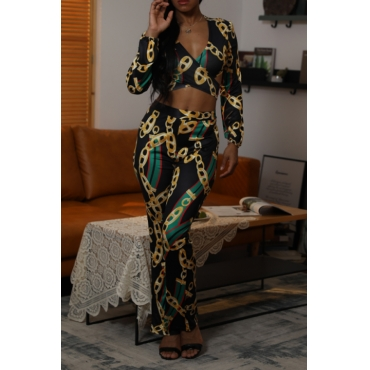 Lovely Casual V Neck Printed Black Two-piece Pants Set
