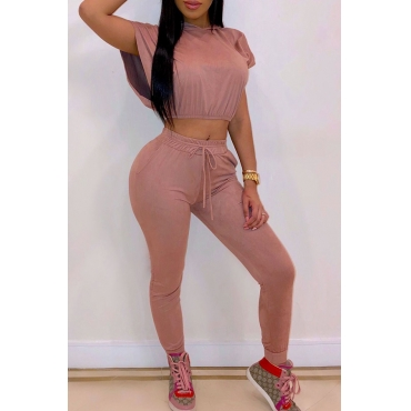 Lovely Casual Hooded Collar Pink Two-piece Pants Set