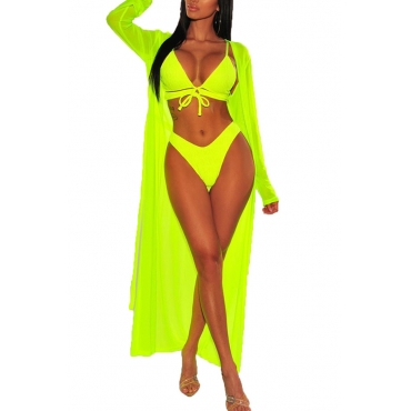 Lovely Lace-up Hollow-out Green Two-piece Swimwear(With Shawl)