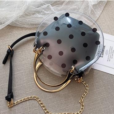 Lovely Stylish Dot Printed See-through Black PU Crossbody Bag