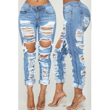 Lovely Casual Mid Waist Broken Holes Blue Jeans