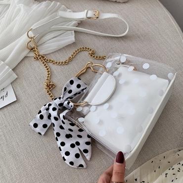 Lovely Stylish Dot Printed White Crossbody Bag