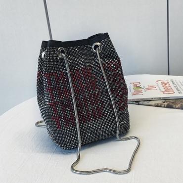 Lovely Casual Rhinestone Decoration Black Crossbody Bag