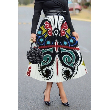 Lovely Casual Butterfly Printed Multicolor Ankle Length A Line Skirt