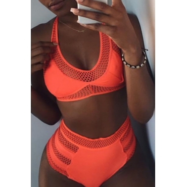 Lovely Hollow-out Jacinth Two-piece Swimwear