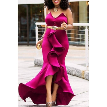 Lovely Sweet Off The Shoulder Ruffle Design Rose Red Floor Length Prom Dress