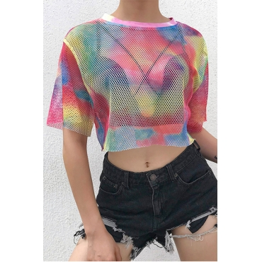 Lovely Casual O Neck Printed Mesh Design Multicolor T-shirt