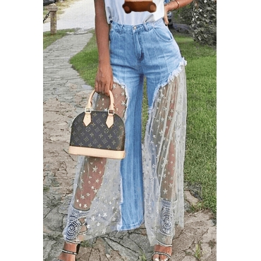 Lovely Stylish Lace Patchwork Baby Blue Jeans
