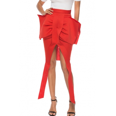 Lovely Casual Bow-tie Decoration Red Mini A Line Skirt