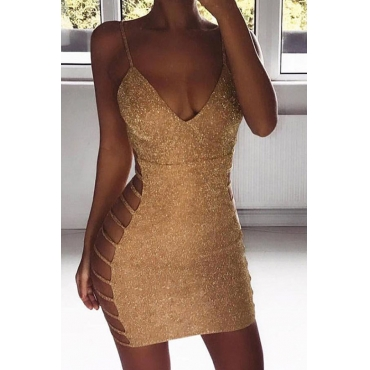 Lovely Sexy Spaghetti Straps V Neck Hollow-out Gold Mini Prom Dress