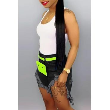 Lovely Stylish Tassel Design Black Denim Shorts
