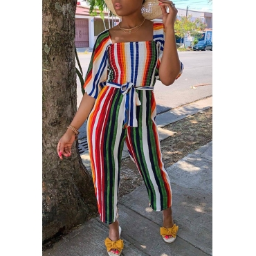 Lovely Trendy Striped Multicolor One-piece Jumpsuit(With Elastic)