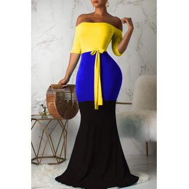 Lovely Casual Off The Shoulder Patchwork Blue Floor Length Dress