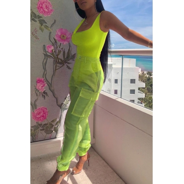 Lovely Casual U Neck See-through Green Two-piece Pants Set