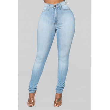 Lovely Stylish High Waist Zipper Design Blue Jeans