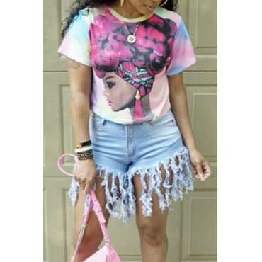 Lovely Casual O Neck Printed Light Pink T-shirt