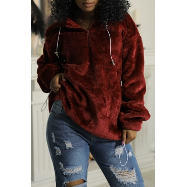 Lovely Chic Hooded Collar Zipper Design Wine Red Velvet Hoodies
