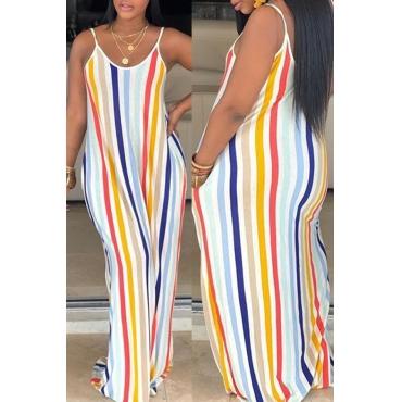 Lovely Sweet Striped Multicolor Floor Length Printed Dress