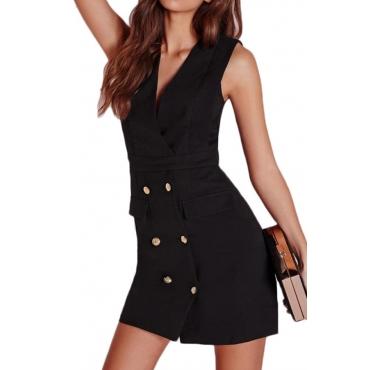 Lovely Stylish Double-breasted Design Black Mini OL Dress