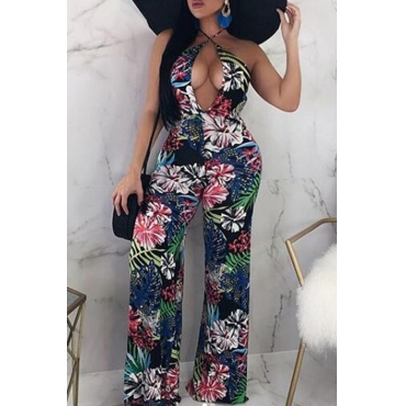 Lovely Sexy Halter Neck Printed Hollow-out Multicolor One-piece Jumpsuit