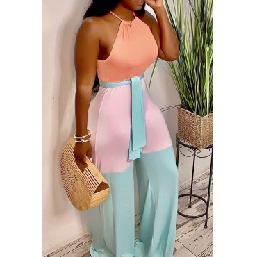 Lovely Casual Halter Neck Patchwork Baby Blue One-piece Jumpsuit