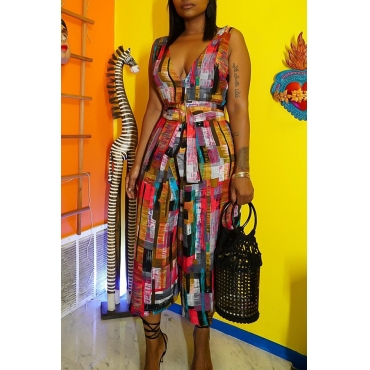 Lovely Stylish V Neck Printed Lace-up Multicolor One-piece Jumpsuit