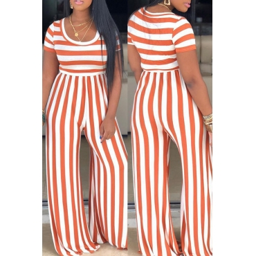 Lovely Casual O Neck Striped Croci One-piece Jumpsuit