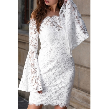 Lovely Elegant Off The Shoulder Lace Trim Patchwork White Mini Prom Dress