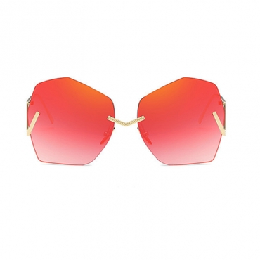 Lovely Stylish Asymmetrical Red Metal Sunglasses