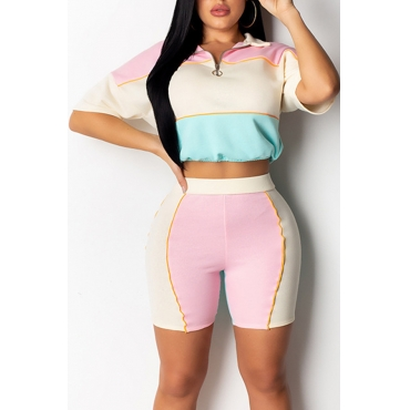 Lovely Casual Patchwork Pink Two-piece Shorts Set
