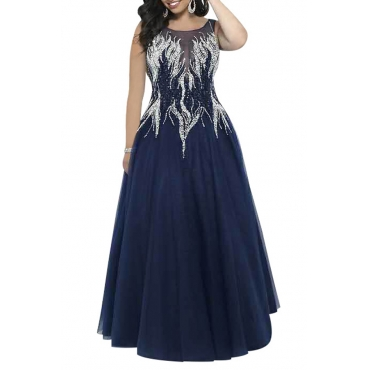 Lovely Casual O Neck Sequins Decoration Blue Ankle Length A Line Prom Dress