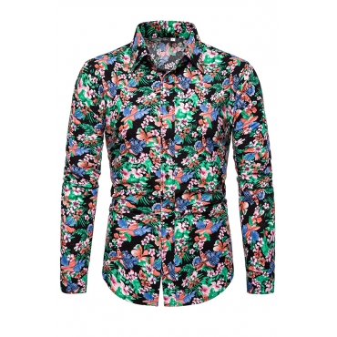 Lovely Stylish Turndown Collar Printed Multicolor Shirt