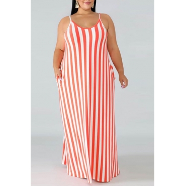 Lovely Casual V Neck Striped Red Floor Length Plus Size Dress