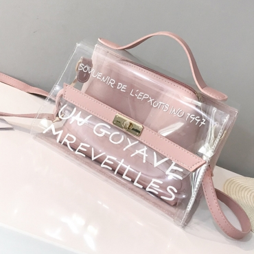 Lovely Stylish See-through Letter Printed Pink PU Crossbody Bag