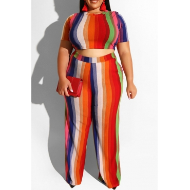Lovely Casual O Neck Striped Printed Red Plus Size Two-piece Pants Set