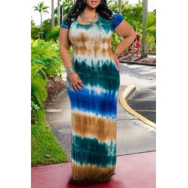 Lovely Bohemian O Neck Tie-dye Printed Green Floor Length Plus Size Dress