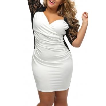 Lovely Casual V Neck Patchwork White Knee Length Plus Size Dress