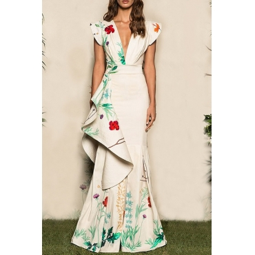 Lovely Party Patchwork Printed White Floor Length Prom Dress