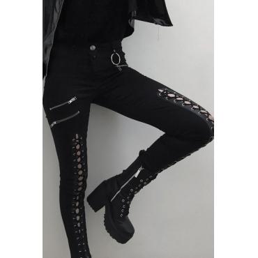 Lovely Casual Bandage Design Black Denim Jeans