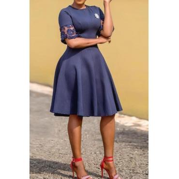 Lovely Stylish O Neck Patchwork Dark Blue Knee Length OL Dress